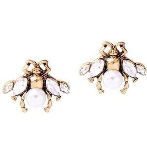 Kate Spade Pearl & Crystal Bee Earrings